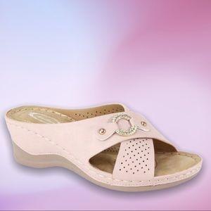 NEW Italina Pink / Silver Rhinestone Wedge Sandal